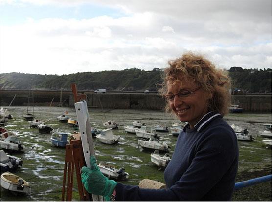 peinture en extérieur - port de Binic - Côtes d'Armor