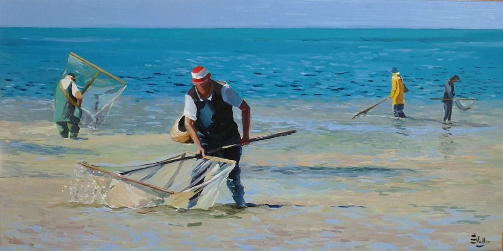 Pêche aux crevettes - filet - Bretagne